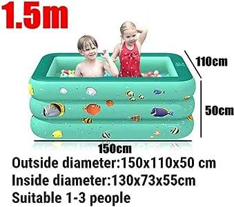 MANWEI Piscinas Piscina Piscina Infantil para Niños Plaza De Burbujas Fondo Inflable Piscina Inflable Artículos para Nadar Juegos para Niños Piscina Piscina para Niños, 150 Cm Verde: Amazon.es: Jardín