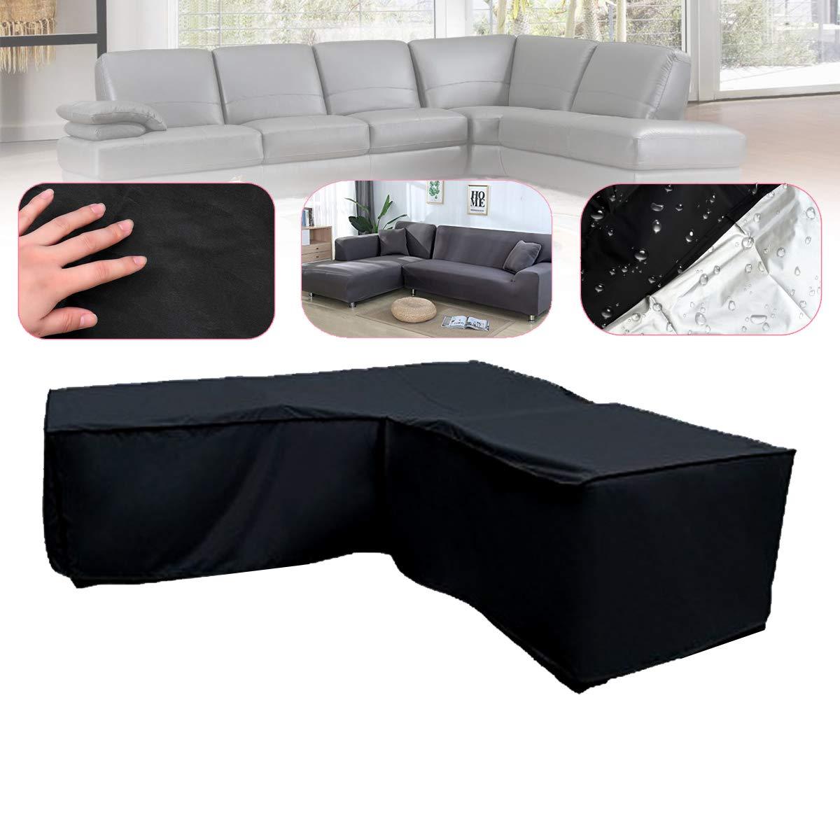 SONSAN L Shape Black Sofa Furniture Covers Cover Bag Rattan Garden Waterproof Protector