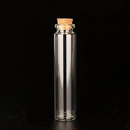 Mini botellas de vidrio tarros con tapón de corcho, decoración DIY pequeño claro Vial De