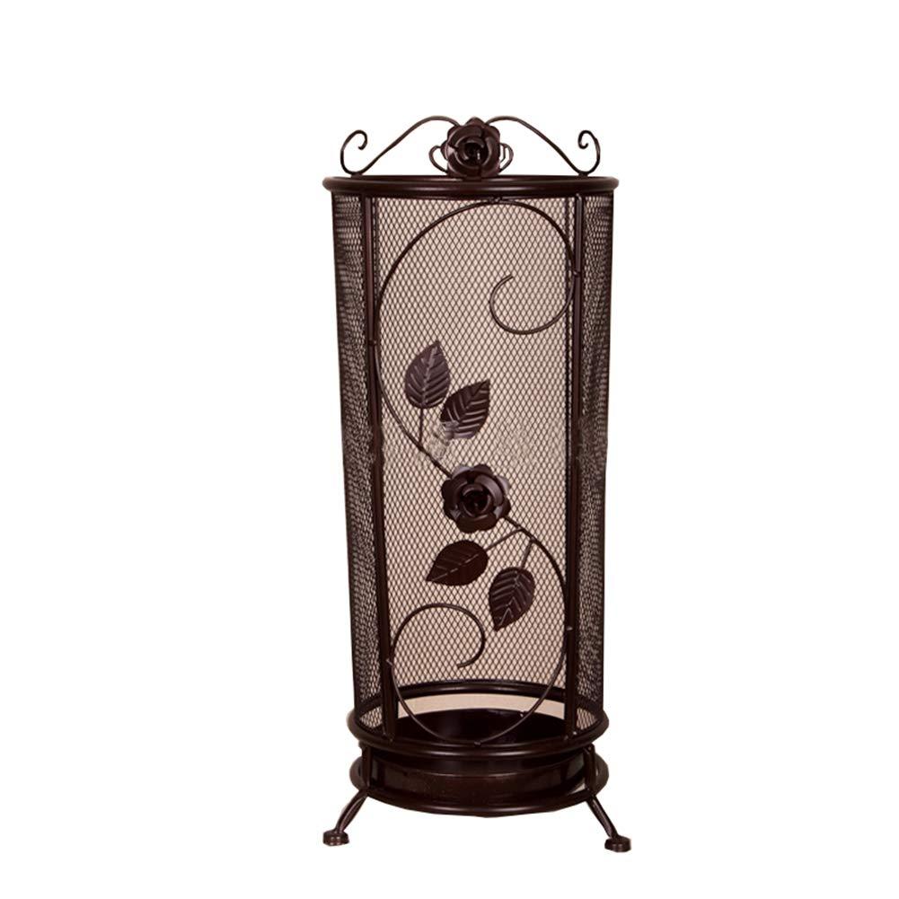 Brown Round Umbrella Stand Rack Metal Umbrella Holder, Handwoven Iron Umbrella Bucket, for Home, Indoor & Outdoor Decoration