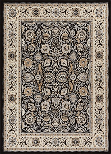 Well Woven Darya Black Modern Sarouk Area Rug Updated Traditional Persian Style 3x5 4x6 (3'11