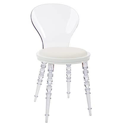 Amazoncom Design Guild Wynona White Cushion Chair With Clear Legs