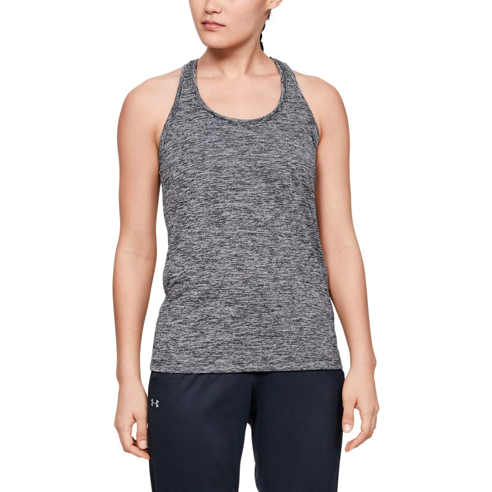 Under Armour Women's Tech Twist Tank Top, Black (001)/Metallic Silver, Large by Under Armour