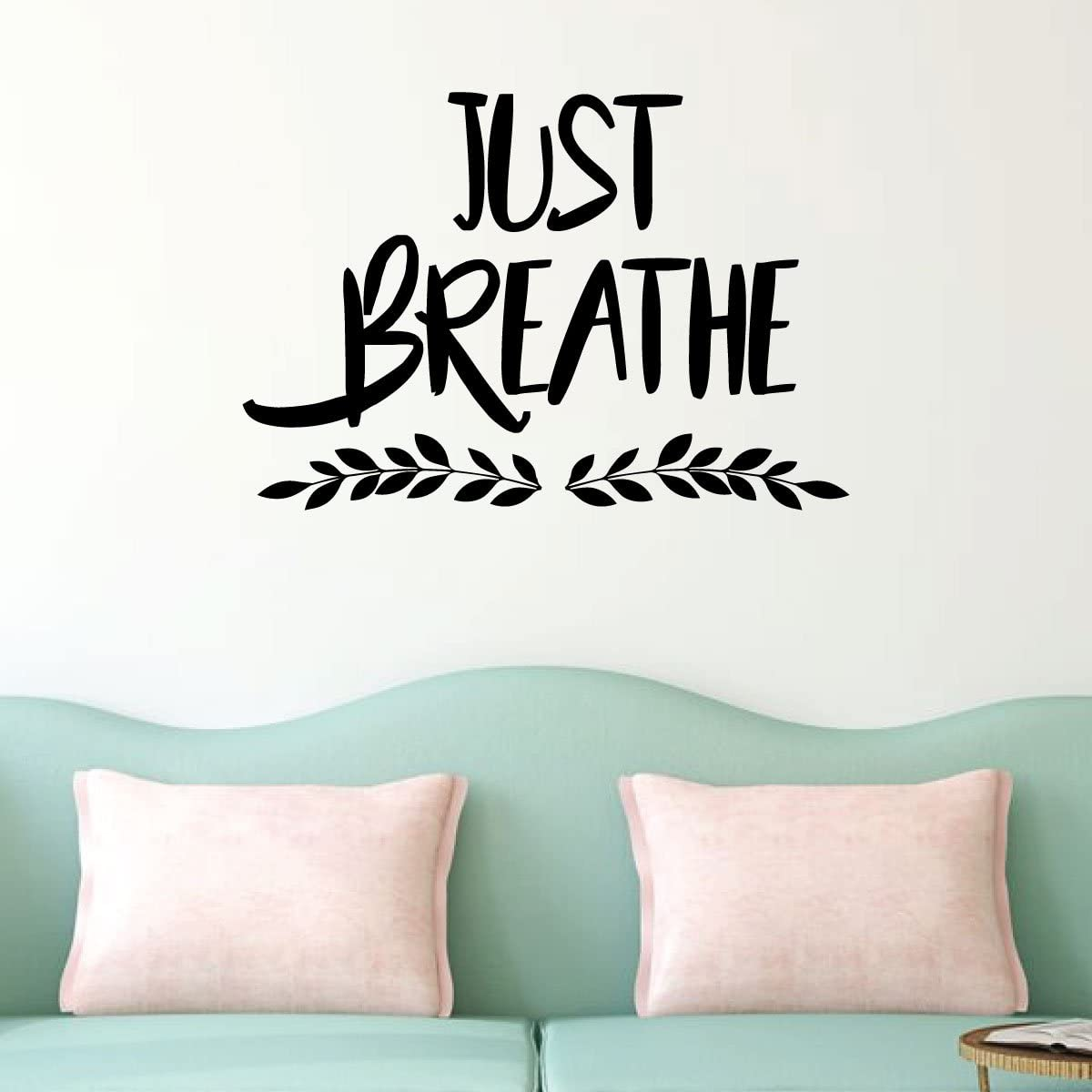 Just Breathe Inspirational Vinyl Wall Decal | Decor for Family Room, Bedroom, Classroom, or Home Gym | Removable Sticker Decal | Custom Sizes and Colors Fit Any Themed Living Space | Black, Red, White, Gray