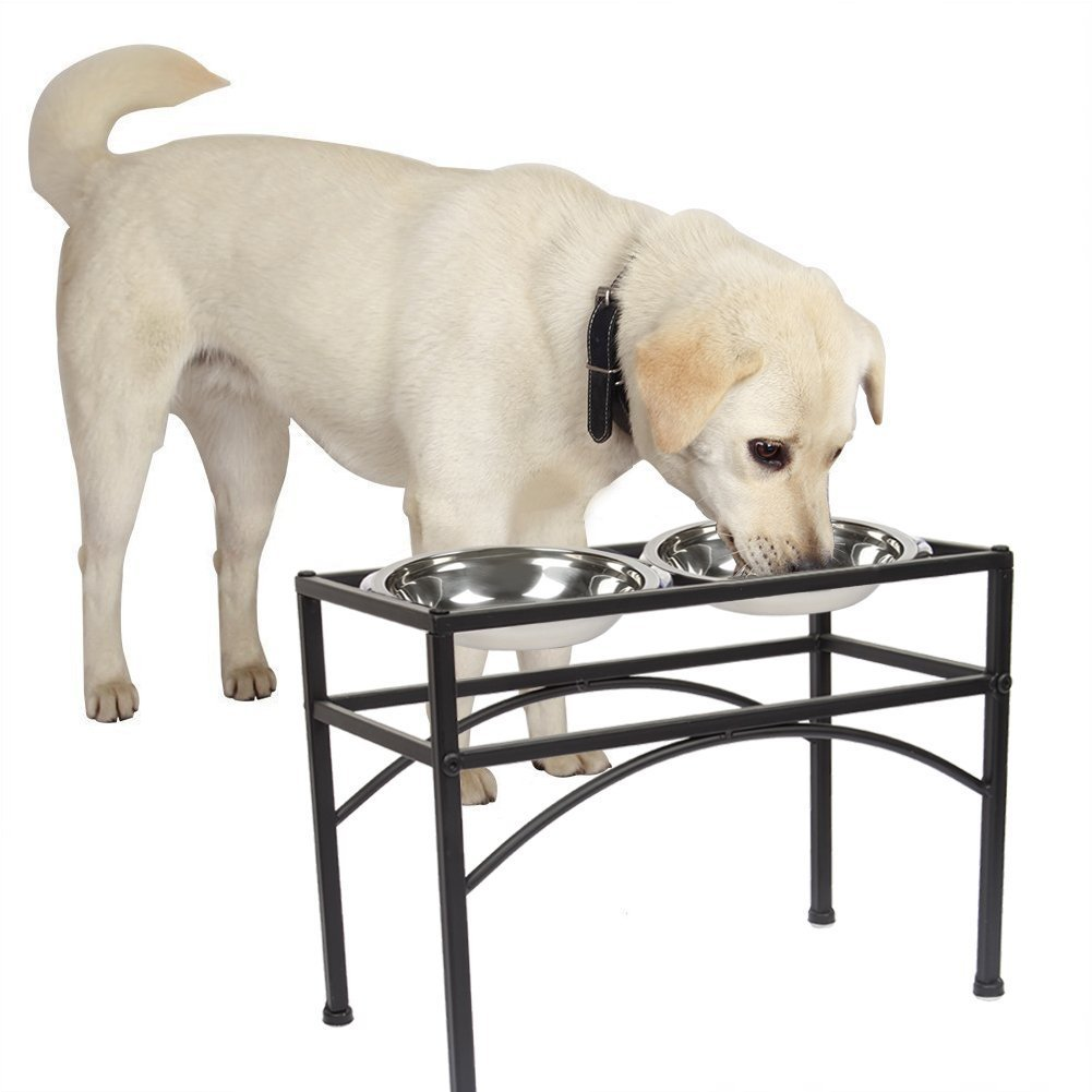 L Funkeen® Raised Pet Bowl Stand in Stainless Steel for Small or Large Dog Puppy Cat