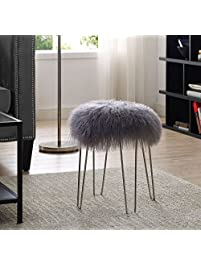 tov furniture zelda sheepskin bench grey - Tov Furniture