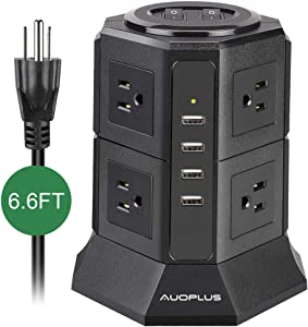 Tower Power Strip, AUOPLUS Multi Plug Surge Protector with 8 Outlets and 4 USB Ports, 6.6 Ft Extension Cord, Desktop Charging Station for Computer Laptops iPhone Mobile Devices Home Office Dorm