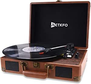 AETKFO Record Player Bluetooth 3-Speed Vinyl Turntable Built in 2 Stereo Speakers,Aux/USB-in, Headphone Jack and RCA Output,Portable Suitcase(Brown)