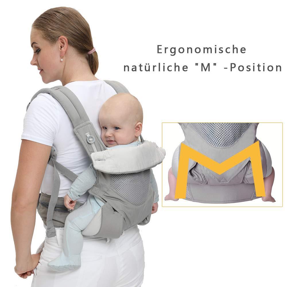 und R/ückseite f/ür Kleinkinder bis Kleinkinder,Soft and Breathable Rucksack Vorder Klassisches Grau Cuby Ergonomische Babytrage