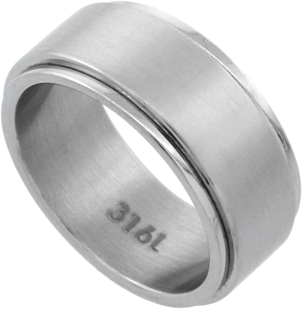 Surgical Stainless Steel 9mm Spinner Ring Wedding Band Matte Finish, Sizes 7-14