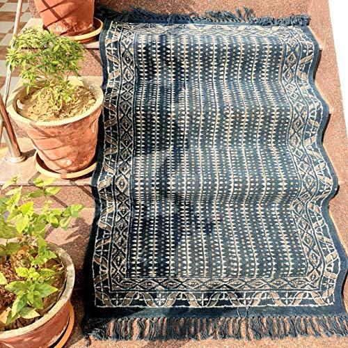 Hand Block Print Area Rugs Blue Indigo Print Handmade Rug Dari Pure Cotton Sofa Cover Carpet Block Print Table Cover ()
