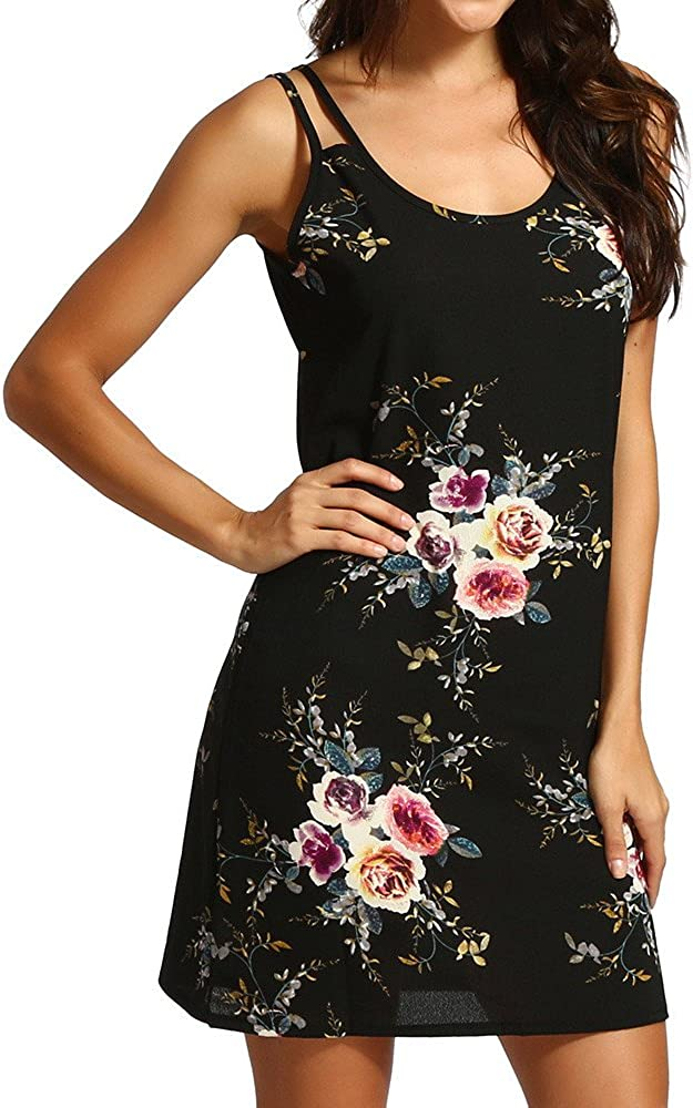 Quealent Womens Summer Floral Printed Sleeveless Casual Cocktail Party Mini Dress A Line Dress Sundress