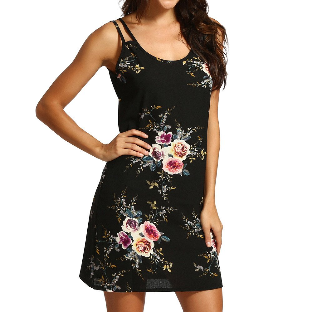 WANQUIY Women's Floral Print Sleeveless Casual Tank Dress Cocktail Party Short Mini Dresses Black
