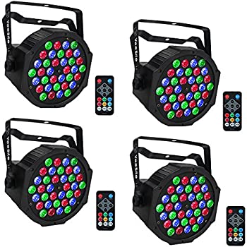 Amazon Com Co Z Led Stage Lights 4 Pack 18x3w Rgb Par