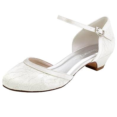 ElegantPark HC1620 Women Comfort Low Heel Ankle Strap Closed Toe Lace Bridal  Wedding Shoes Ivory US b0f2290ec19b