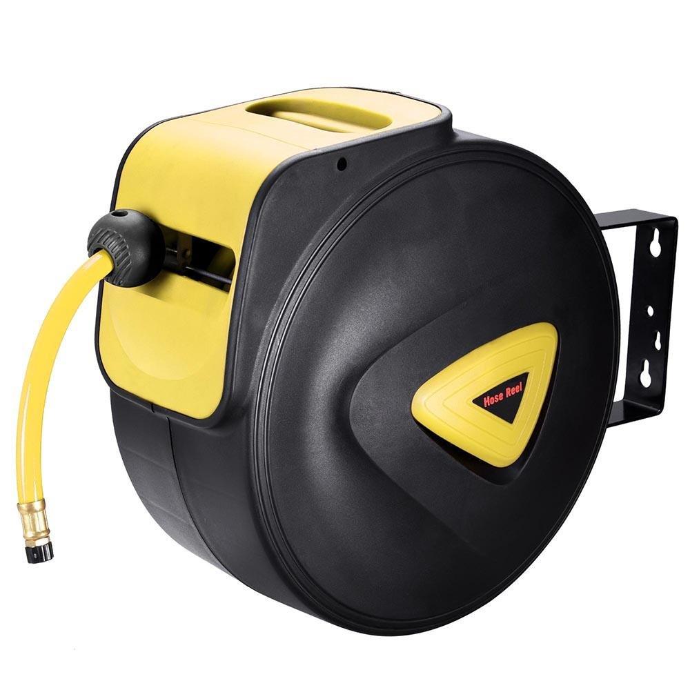 3/8'' 65Ft (20m) Portable Automatic Retracting Winding Hose Reel w/ Swivel Bracket Working Pressure: 261 PSI