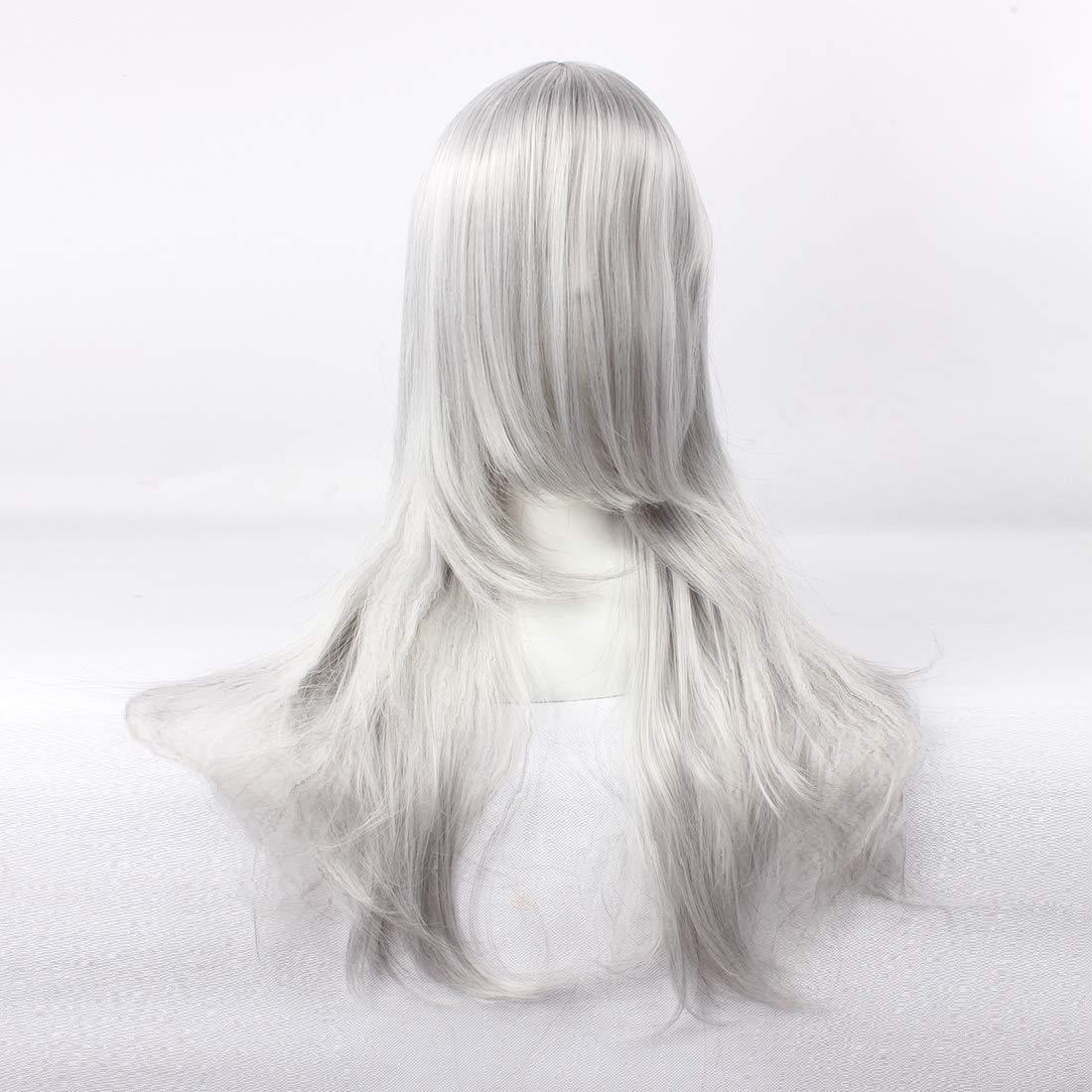 HOOLAZA Peluca larga rizada gris plateado Bakuman Shinta ...