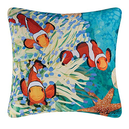 2 Reviews Home Decorators - C&F Home, Coral Reef Tropical Clown Fish Decorator Pillow, Indoor Outdoor Use, 18x18, Two Can Art