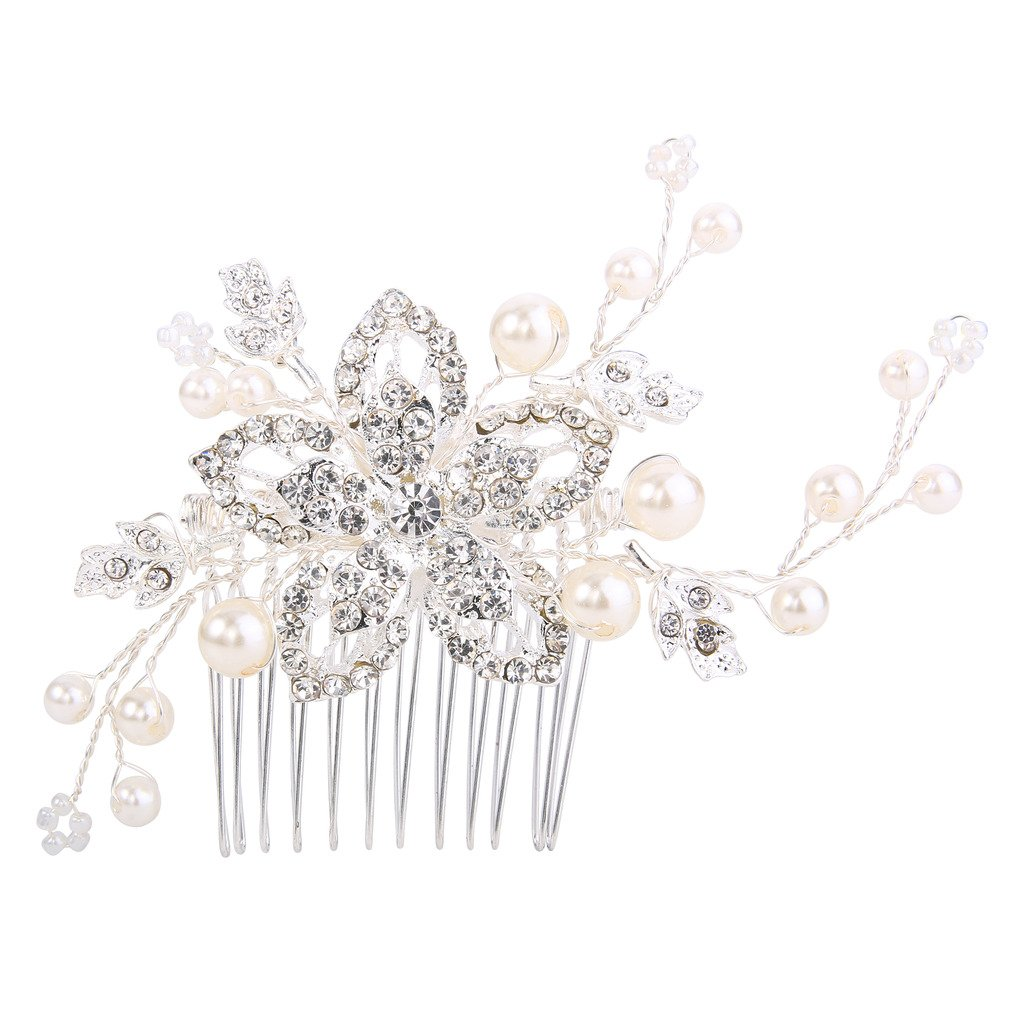 BriLove Women's Bohemian Boho Simulated Pearl Flower Handmade DIY Bendable Filigree Hair Comb Ivory Color Clear Silver-Tone