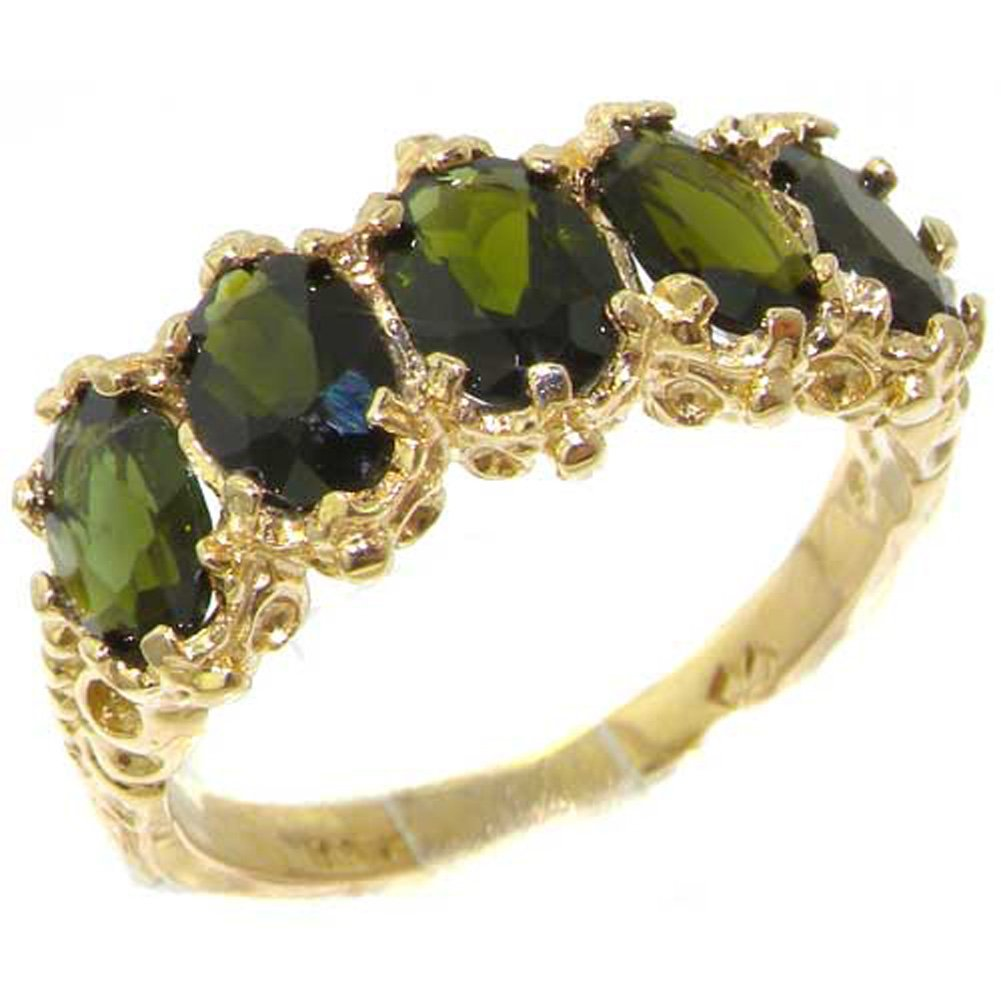 10k .417 Yellow Gold Natural Green Tourmaline Womens Band Ring - Sizes 4 to 12 Available
