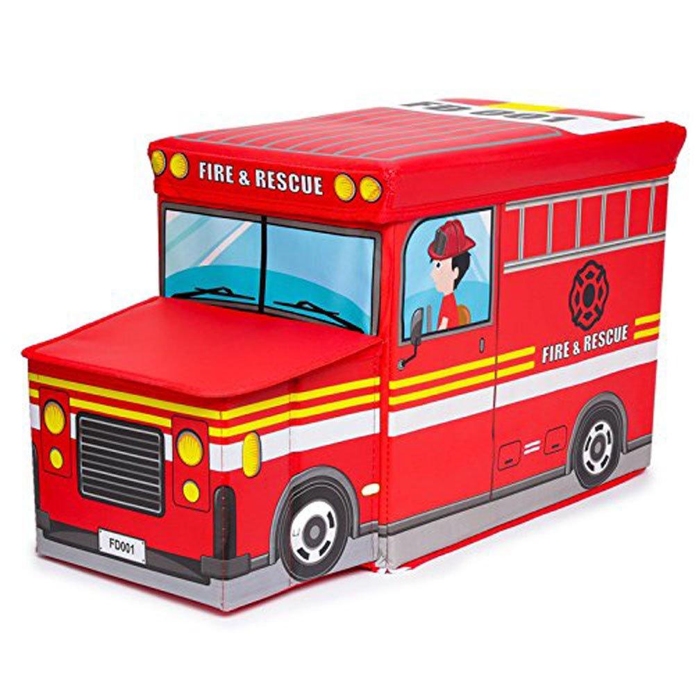 Toy Box Kids Storage Bin G Bundle Car Model Fold-able Stool Toy Chest (Fire Truck)