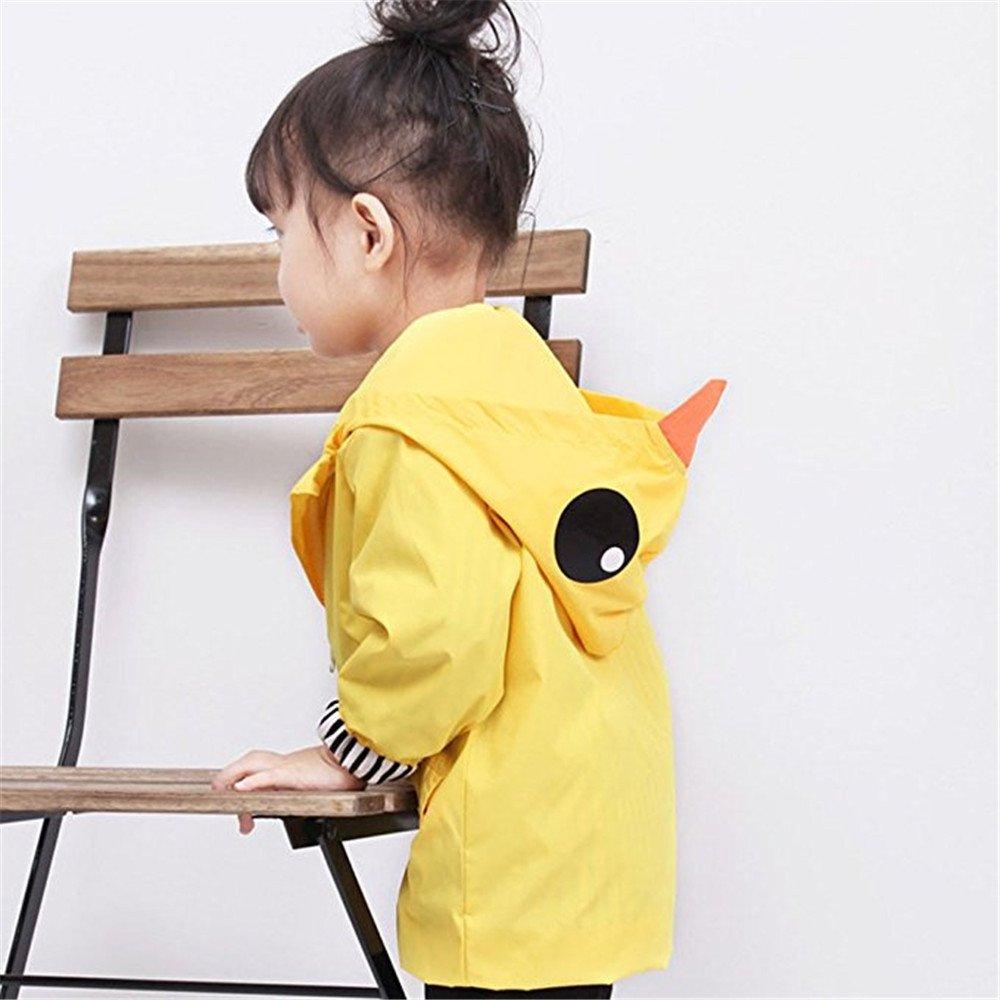 Anytec-Baby Yellow Duck Raincoat Cartoon Jacket Hooded Zip up Coat Outwear Kids