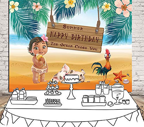 Daniu Moana Birthday Party Backdrop Sea Summer Photography Backdrop Baby Shower Vinyl Background Table Decoration Photo Booth Studio Props Backdrops Supplies 7x5FT