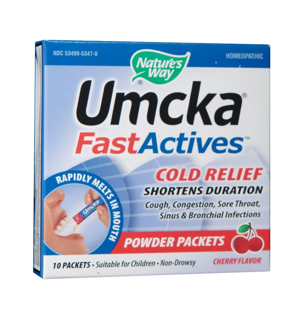 Nature's Way Umcka FastActives Cold Relief Shortens Duration, Cherry Flavored, Rapidly Melts In Your Mouth, Display Pack; 6 Boxes with 10 Packets Each by Nature's Way