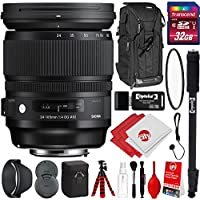 Sigma 24-105mm F4 ART DG OS HSM for Nikon DSLR Cameras w/ 32gb Pro Photo and Travel Bundle