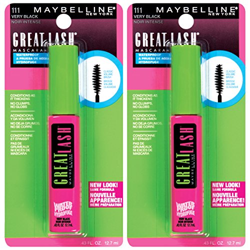 Maybelline New York Great Lash Waterproof Mascara Makeup, Very Black, 2 Count (Black Maybelline Lash)