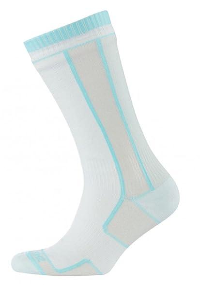 SealSkinz Thin Mid-Length Socks - Women's White/Aqua, ...