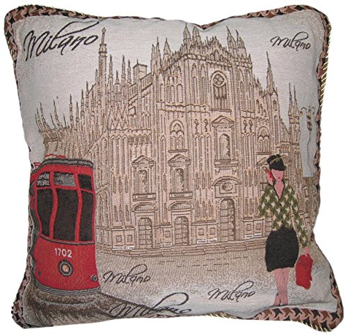 Metropolitan Italy Cathedral Print Motif Cushion Cover