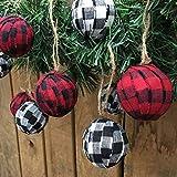 Jubilee Creative Studio Set of 12 Buffalo Red, Black & White Plaid Cotton Fabric 1.5 inch Ball Christmas Ornaments