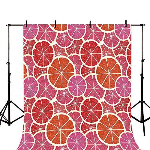 (Fruits Stylish Backdrop,Funky Grapefruit Vintage Citrus in Vibrant Circular Illustration Decorative for Photography,118