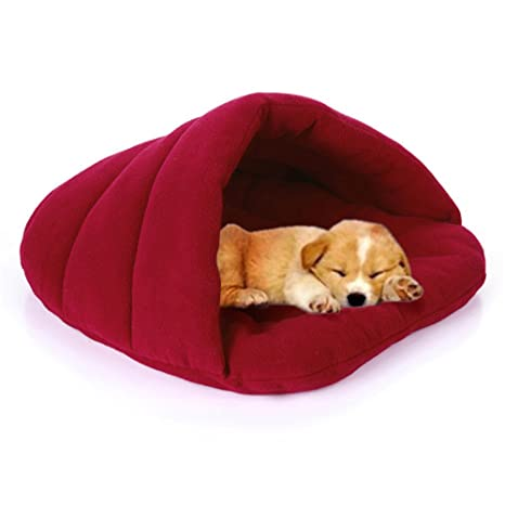 Amazoncom Pet Dog Cave Dogs Sleeping Bag Bed Half Covered Cuddle