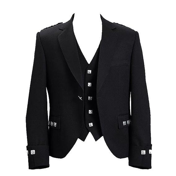 Scottish Argyle /& Prince Charlie Kilt Waistcoat Black Outfit Vest 100/% Wool