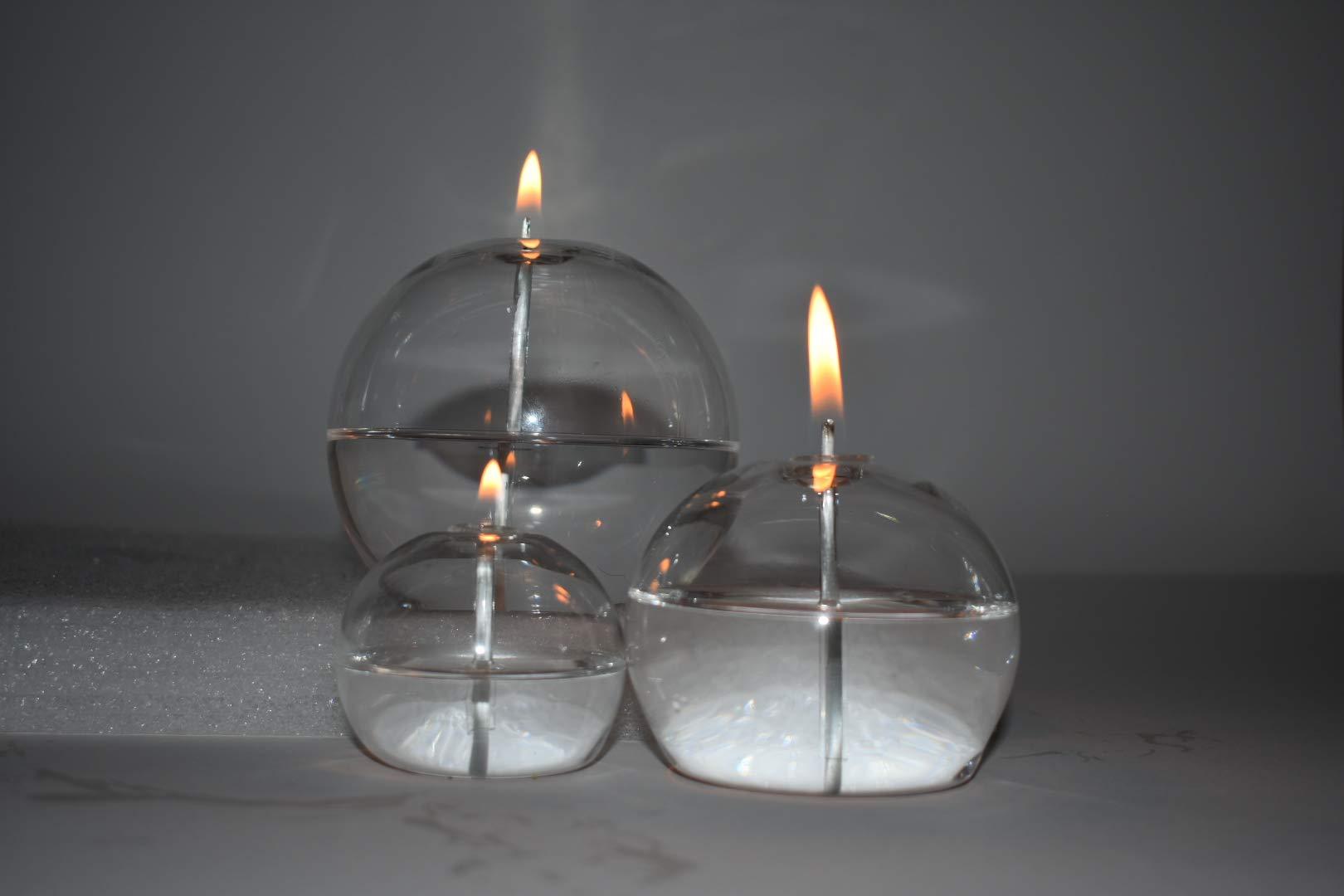 Hand Blown Reusable Smokeless Glass Oil Candle Set of 3.