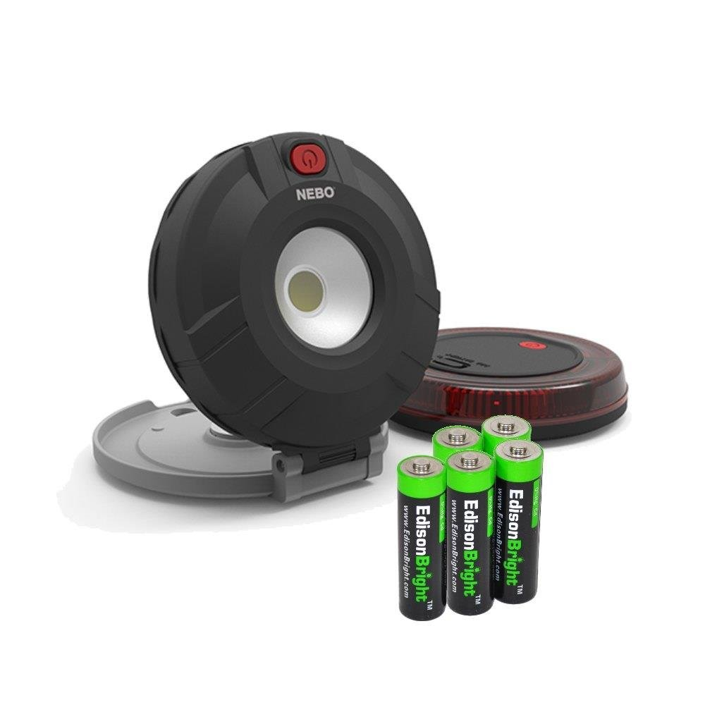 Nebo 6391 Twin Pucks 160 Lumen Task Light/Emergency Beacon Magnetic Worklight with 5 X EdisonBright AAA Alkaline Batteries Bundle