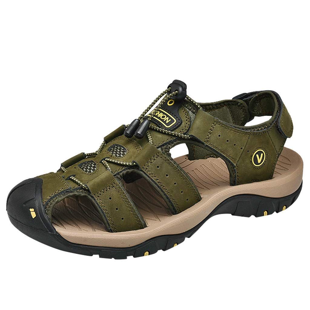 Outdoor Sandals Mens GREFER Summer Artificial Leather Soft Bottom Sport Sandals Breathable