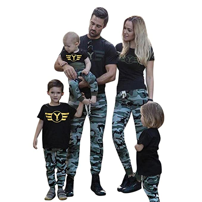 8f49ac65d379 Hunputa Mom Dad   Baby Parent-Child 2pcs Short Sleeves Top + Camouflage  Printed Long
