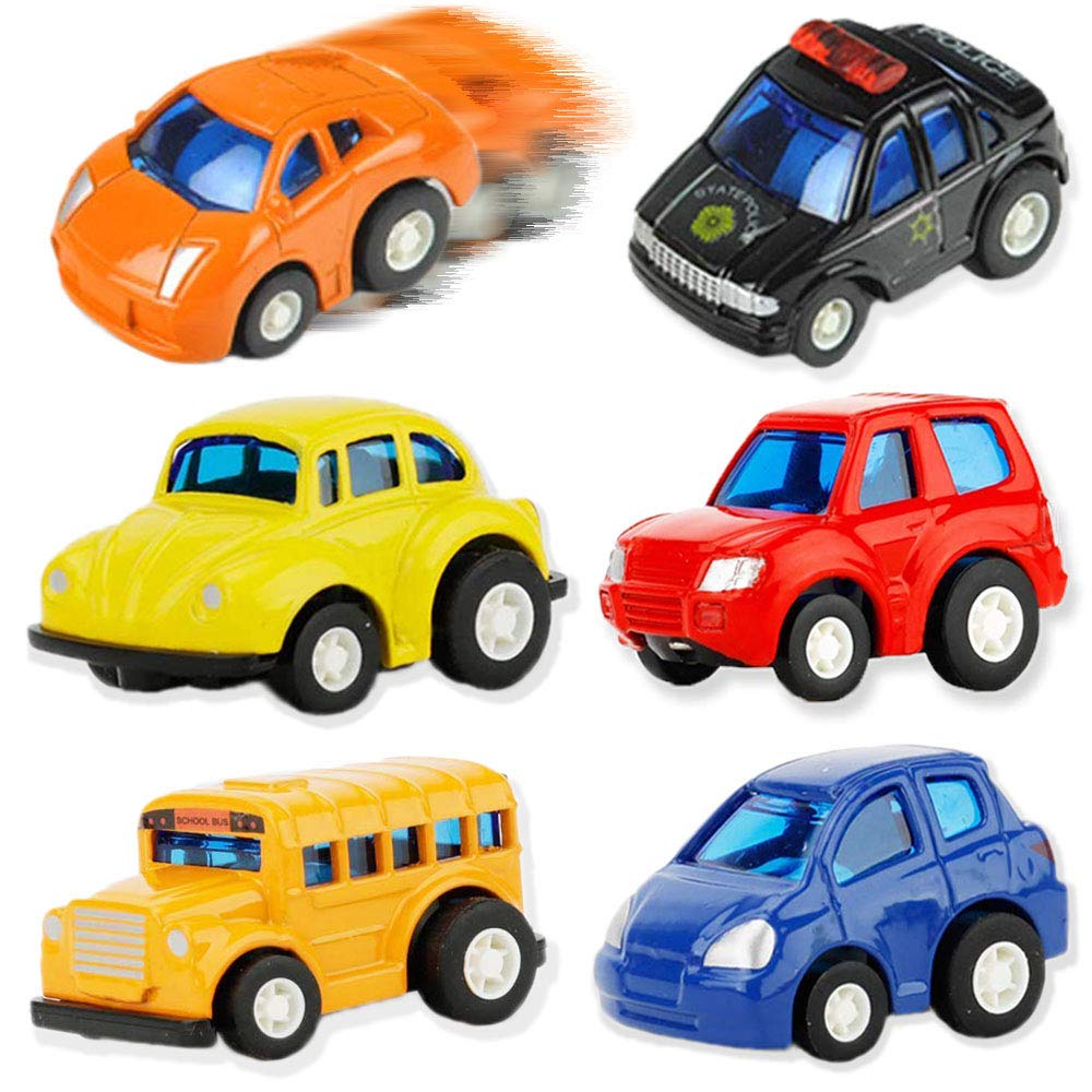 UiiQ Pull Back Die cast Vehicles 6 Pack Assorted Mini City Series Alloy Model Car Playset Police Sports Beetle Car and School Bus Jeep SUV Style May Vary