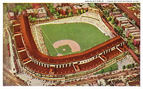 (Chicago, Illinois - Aerial View of Wrigley Field (16x24 Fine Art Giclee Gallery Print, Home Wall Decor Artwork Poster))