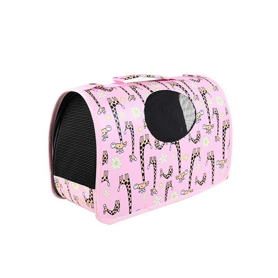 Pink Large Pink Large CEFULTY Pet Diagonal Shoulder Bag Folding Breathable Pressure-Proof Handbag Pet Bag Out Carrying Bag (color   Pink, Size   L)