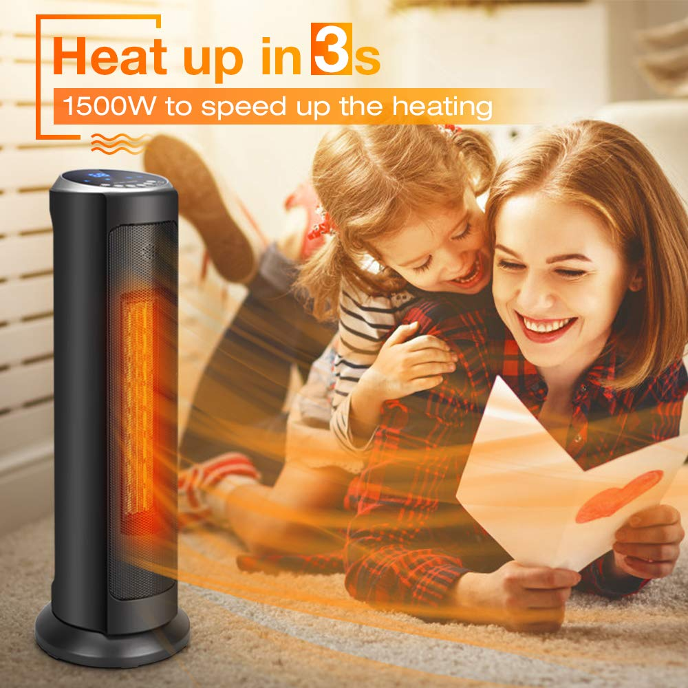 Air Choice Space Heater, 1500W Room Heater, Oscillating, 3S Quick Heat Up, 8H Timer, Adjustable Thermostat, Overheat and Tip-Over Protection, Remote Control, 22-Inch Space Heater for Indoor Use