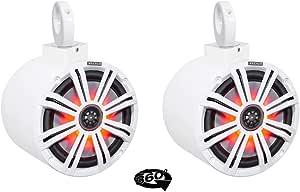 "(2) Kicker KM8 8"" LED 360° Swivel White Aluminum Wakeboard Tower Speakers"