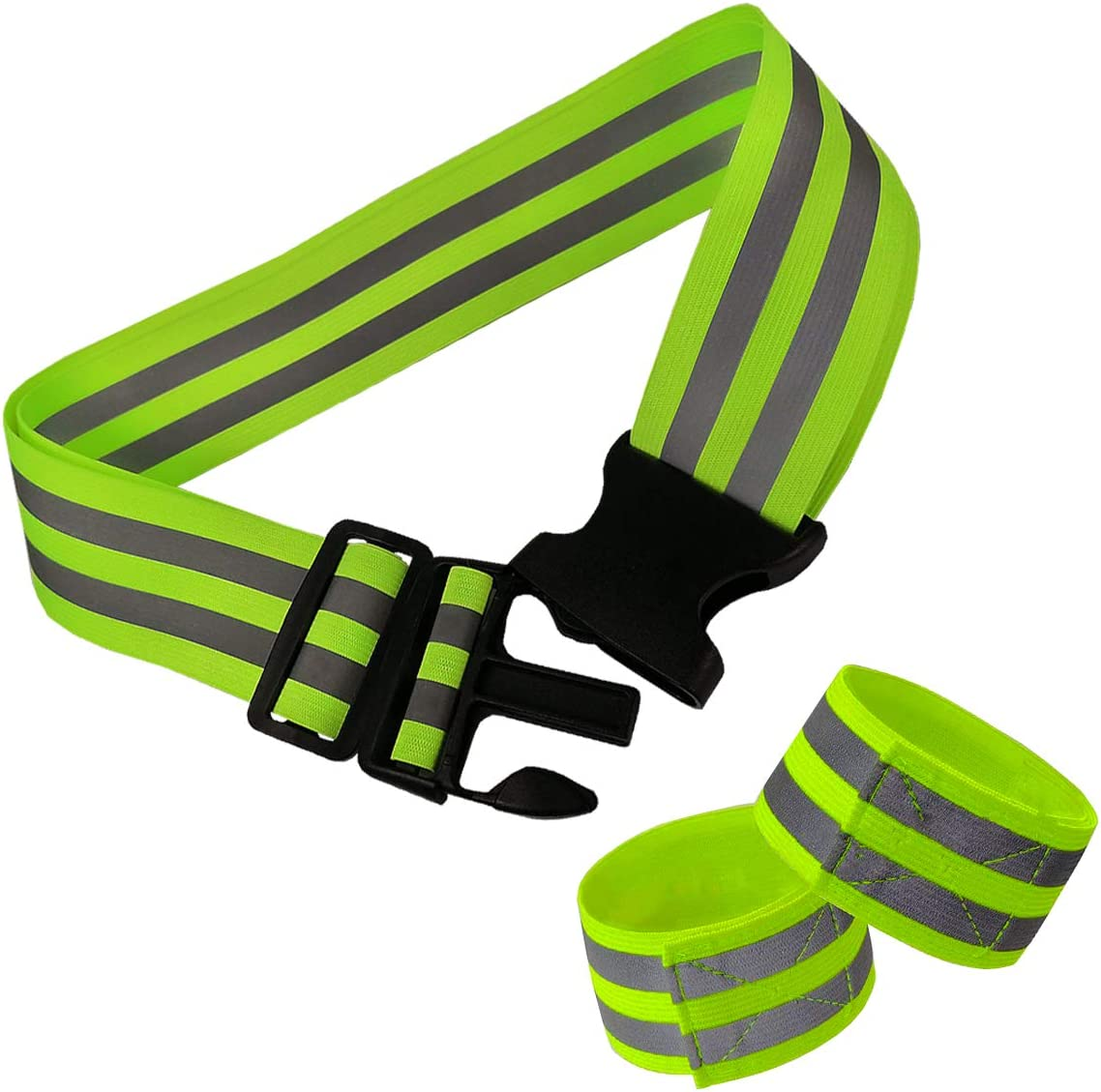 DOURR High Visibility Reflective Running Belt,Elastic Glow Belt Safety Gear Army Pt Belt with 2 Armband for for Night Running Cycling Walking