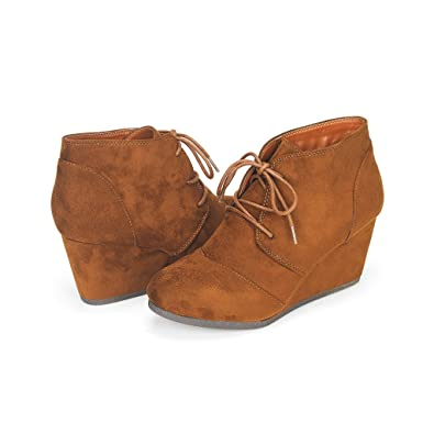 DREAM PAIRS TOMSON Women's Casual Fashion Outdoor Lace Up Low Wedge Heel  Booties Shoes TAN 5