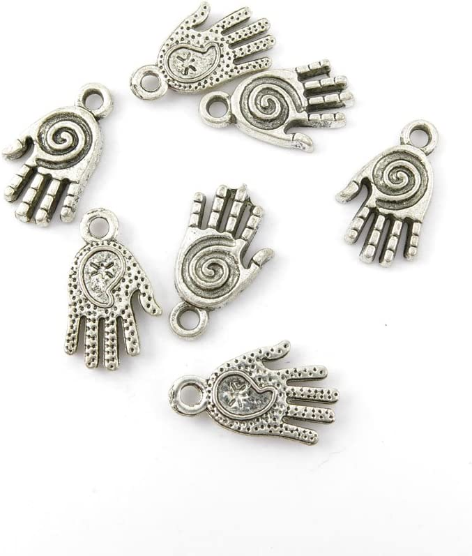 Wholesale 80pcs Skeleton Hand Antique Silver Charms Pendants DIY Jewelry Finding