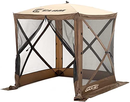 Quick Set 9881 Traveler Shelter, 72 x 72-Inch Portable Popup Gazebo Durable Tent Bug and Rain Protection Easy Setup 3-4 Person , Brown Beige