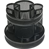 Business Source 62886 Rotary Organizer Mesh 6-5/8''x6-5/8 x6-5/8 Black